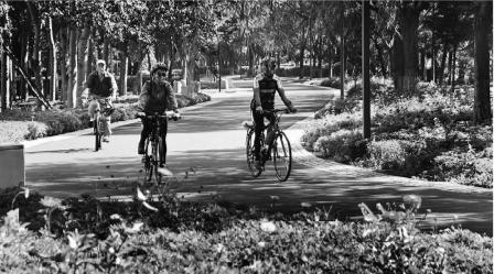 市民在公园里骑行。